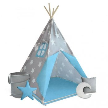 Dětský stan teepee, modro/šedý, s příslušenstvím