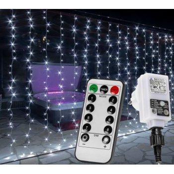 Vánoční světelný závěs - 6x3 m, 600 LED, studeně bílý