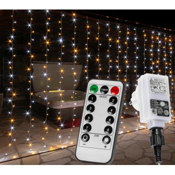 Vánoční světelný závěs - 6x3 m, 600 LED, teple/studeně bílý