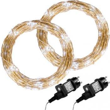Sada 2 kusů světelných drátů - 200 LED, studeně bílá