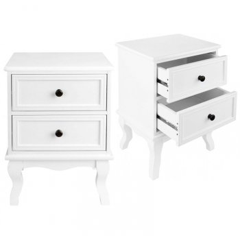 Noční stolek se 2 šuplíky, bílá
