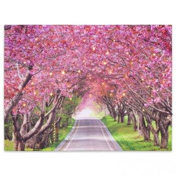 Nástěnná malba rozkvetlá alej stromů, 40 LED, 30 x 40 cm