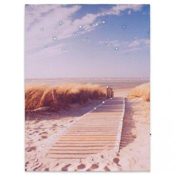 Nástěnná malba písečná cesta na pláž, 30 LED, 30 x 40 cm