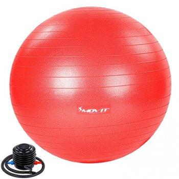 MOVIT Gymnastický míč s nožní pumpou, 65 cm, červený