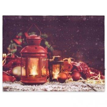 Nástěnná malba červené lucerny, 2 LED, 30 x 40 cm