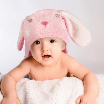 Dětská osuška s kapucí, 76 x 76 cm, zajíc