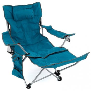 Kempingová židle s odnímatelnou podnožkou, modrá