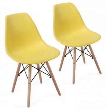 Sada jídelních židlí s plastovým sedákem, 2 kusy, žluté