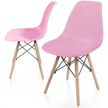 Sada jídelních židlí s plastovým sedákem, 2 kusy, růžové