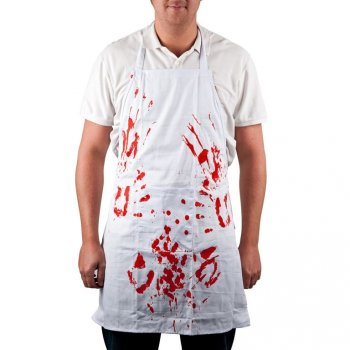 Grilovací bílá zástěra s ultra krvavým potiskem, 88 x 66 cm