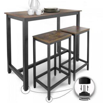 Miadomodo Barový stůl v retro stylu + 2 stoličky