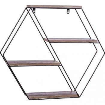 STILISTA Nástěnná šestihranná police, tm. dřevo, 51x58x11 cm