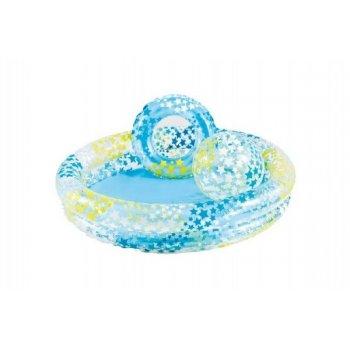 Sada dětský bazén+kruh+míč v krabici 2+