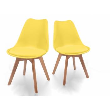 Sada jídelních židlí s plastovým sedákem, 2 ks, žluté