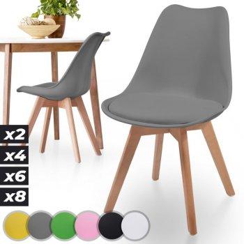 MIADOMODO Sada jídelních židlí, šedá, 2 kusy
