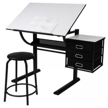 MIADOMODO Psací stůl s taburetem, 90 x 75,5 x 60 cm