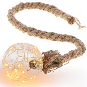 Světelná LED koule na laně, 20 LED, teple bílá