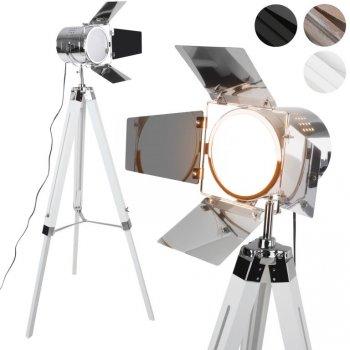 JAGO Stojací lampa s dřevěnou trojnožkou, bílá matná