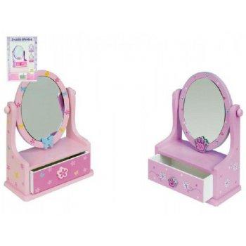 Zrcadlo šperkovnice zásuvka dřevo 16,2x24,2x8,5cm asst 3 barvy v krabici