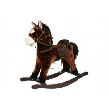 Kůň houpací hnědý plyš nosnost 50kg v krabici