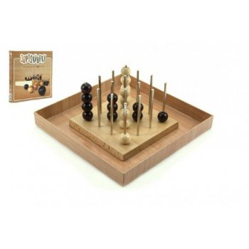 Piškvorky 3D podstavec + kuličky dřevo společenská hra v krabici