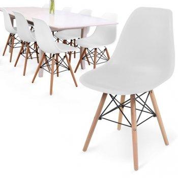 MIADOMODO Sada 8 jídelních židlí s plastovým sedákem, bílé