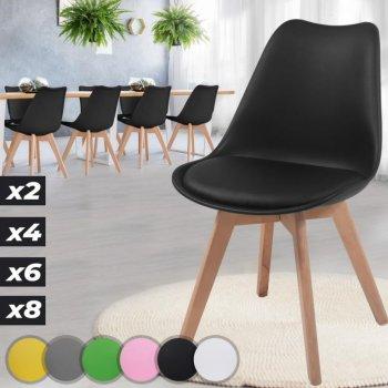 MIADOMODO Sada jídelních židlí, černá, 8 kusů