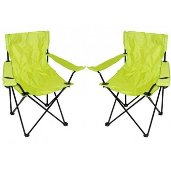 Kempingová sada - 2x skládací židle s držákem - sv. zelená D09527
