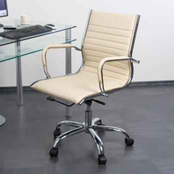 Kancelářská otočná židle - krémová kožený vzhled M01347