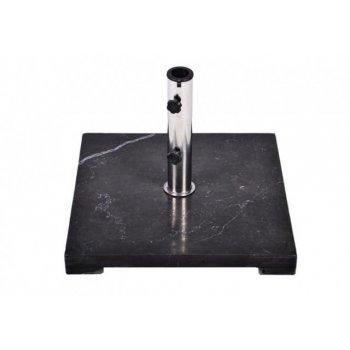 Stojan na slunečník Gardenay z černého mramoru a ušlechtilé oceli, čtvercový, 25 kg D02254