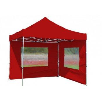 Zahradní párty stan nůžkový PROFI 3x3 m červený + 2 boční stěny D09481