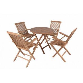 DIVERO zahradní skládací nábytek z týkového dřeva Garth D02298