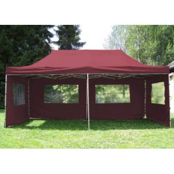 Zahradní párty stan - vínová 3 x 6 m + boční díly M01549