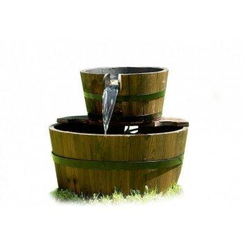 Zahradní kašna - fontána se dvěma dřevěnými vědry D00633
