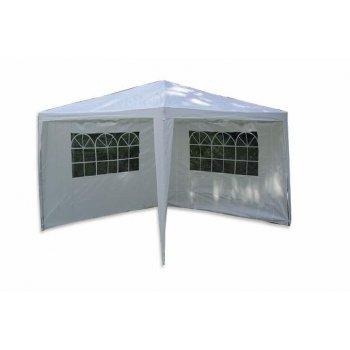 Zahradní párty stan - bílý 3 x 3 m + 2 boční stěny D00590