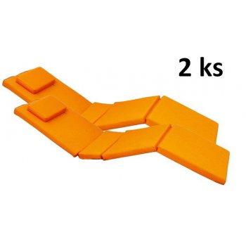 Sada 2x polstrování na lehátko Garth - oranžová D09601