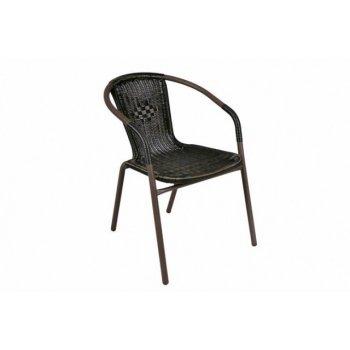 Zahradní ratanová židle Bistro - černá s hnědou strukturou D06159